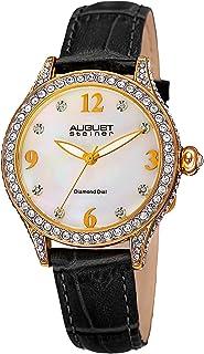 ساعة للنساء من اوغست شتاينر بنظام حركة كوارتز ونمط عرض انالوج وسوار جلدي، AS8188BKG