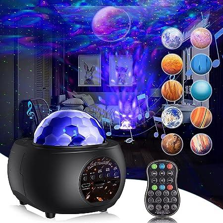 Lampe Projecteur Étoile, Gvoo Projecteur Ciel Etoile 32 Modes 10 Planètes, Veilleuse Enfant Rechargeable Lampe Projecteur LED Etoile Luminosité Réglable Bluetooth avec Télécommande pour Bébé Adulte