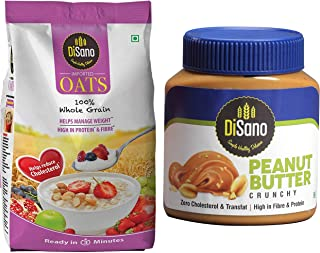 DiSano Peanut Butter, Crunchy, 25% Protein with Vitamins & Minerals, 1 Kg + Disano High in Protein and Fibre Oats Pouch, 1 kg