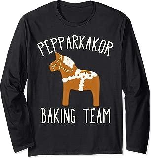 Pepparkakor Baking Team Swedish Christmas Cookies Dala Horse Long Sleeve T-Shirt