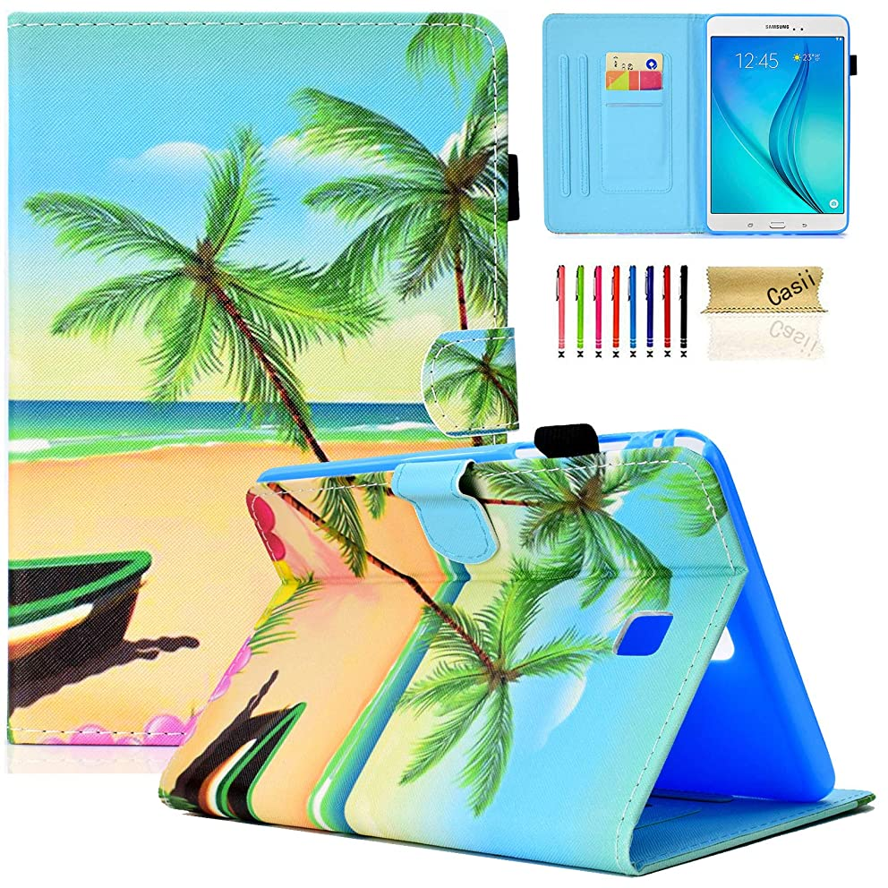 Samsung Galaxy Tab A 8.0 Case, Casii PU Leather Protective Ultra Slim Flip Folio Stand Smart Cover Case [Auto Sleep/Wake] with Card Slots for Galaxy 8.0