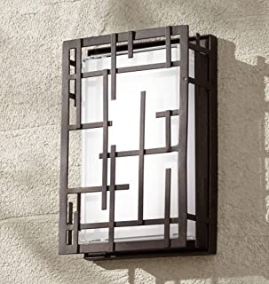Modern Lines Outdoor Wall Light Fixture LED Dimmable Bronze Grid 9 1/4