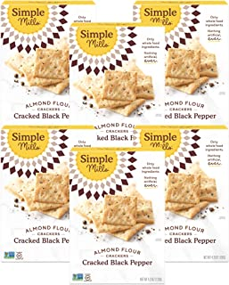 Simple Mills Almond Flour Crackers, Black Cracked Pepper, Gluten Free, Flax Seed, Sunflower Seeds, Corn Fre...