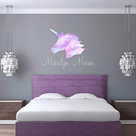 Unicorn Wall Decal Custom Name - Girls Personalized Name Unicorn Wall Sticker - Custom Name Sign - Custom Name Stencil Monogram - Girls Nursery Wall Decor