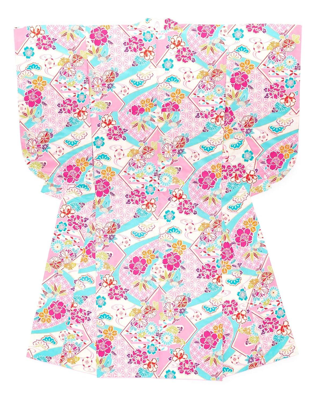 (ソウビエン) 袴用二尺袖着物 単品 ピンク 水色 牡丹 菊 桜 梅 花 七宝 色紙 小紋柄 レトロモダン 卒業式