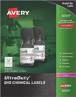 Avery UltraDuty GHS Chemical Labels for Laser Printers, Waterproof, UV Resistant, 1