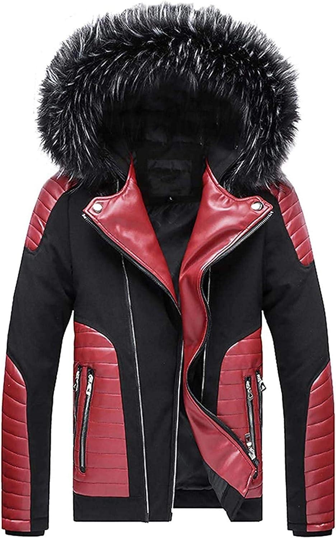 Men's Winter Insulated Fur Hood Down Alternative Jacket Parka Coat