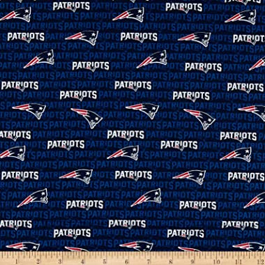 Traditions NFL Cotton Broadcloth New England Patriots Mini Navy, Fabric by the Yard