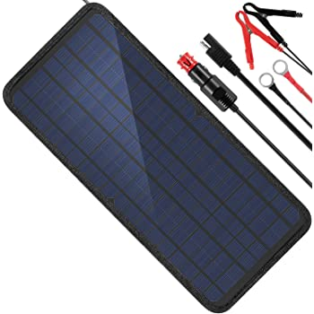 MOOLSUN 12 Volt 12v Solar Battery Charger, 10W Solar Car Battery Charger, Solar Trickle Charger, Solar Panel Battery Maintainer, Power Kit Portable Backup for Automotive, Motorcycle, Boat, Marine, RV