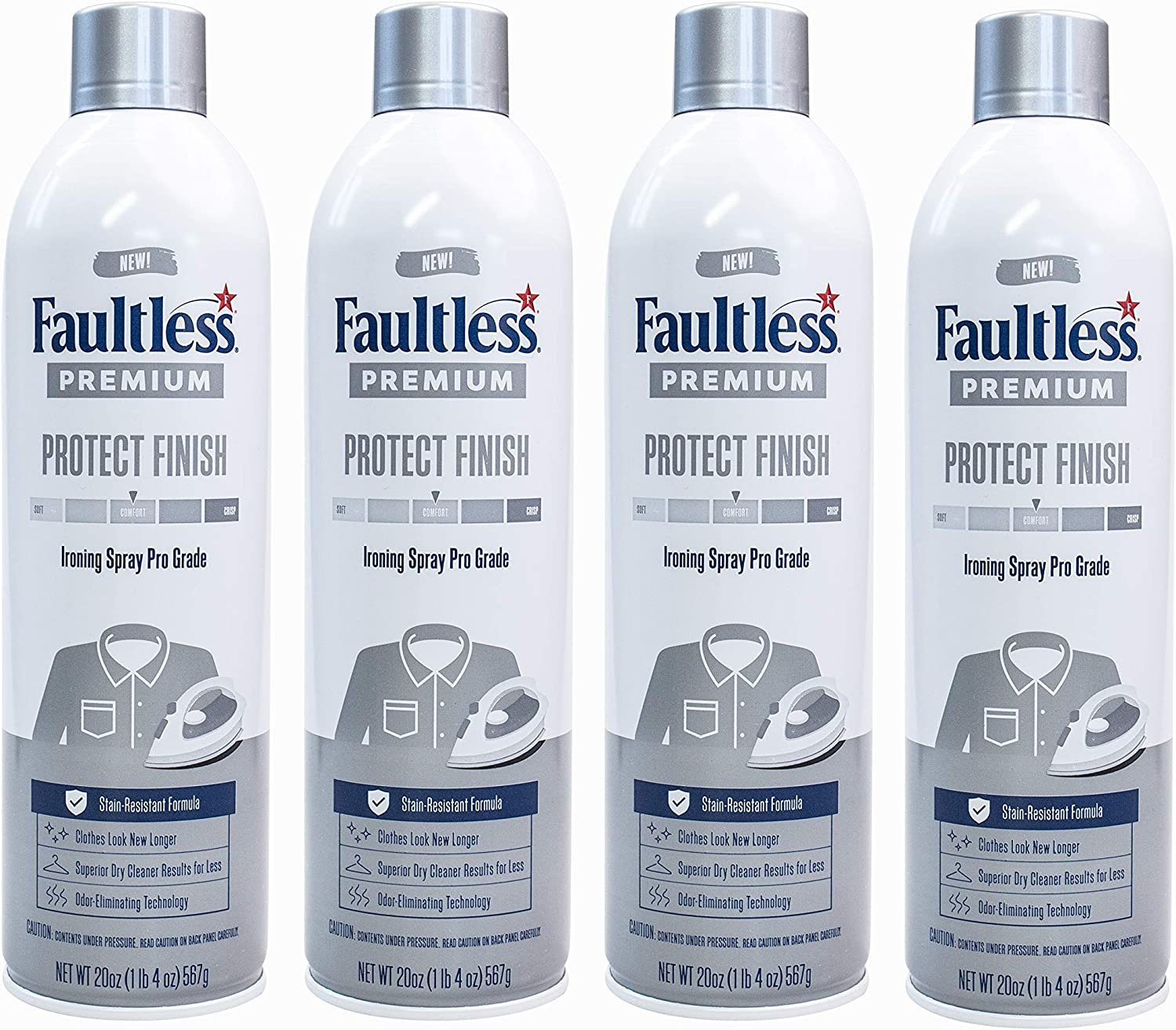 FAULTLESS Spray Starch Ranking TOP8 20 Oz Ironin Premium Free shipping anywhere in the nation New 4 Pack
