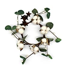 CVHOMEDECO. Primitives Rustic Cotton Pod Pip Berries and Eucalyptus Leaves with Rusty Barn Stars Wreath, 12-Inch