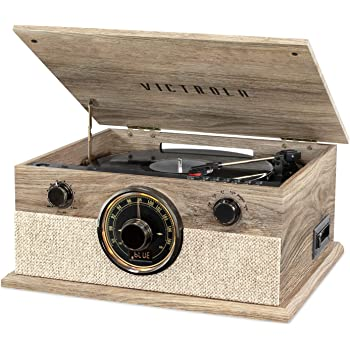 Victrola 6-in-1 Bluetooth Record Player with 3-Speed Turntable, CD, Cassette Player and AM/FM Radio, Farmhouse Oatmeal