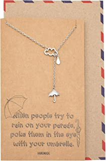 Quan Jewelry Cloud Rain and Umbrella Charms Pendant, Lariat Necklace, Birthday Gifts for Best Friends with Funny Greeting ...