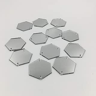 Hexagon Acrylic Mirror Sew on Rhinestones Mirror Beads Flat Back Crystal Stones for Mirror Suits Dress Costume Accessories 25mm (Hexagon 25mm)