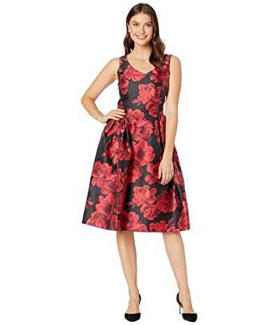 Tahari by ASL V-Neck Printed Jacquard Party Dress (Red/Black Floral) Women