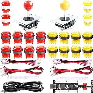 Easyget 2-Player DIY Arcade Kit Zero Delay 2-Player USB Encoder + 2X Joystick + 20x LED Arcade Buttons for PC, Windows, MAME, Mac & Raspberry Pi Retro Gaming DIY (Red & Yellow)