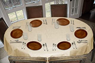 LAMINET Stitched Edge Drop Tablecloth - Basketweave (Beige) - Oval - Fits Tables up to 54 x 72