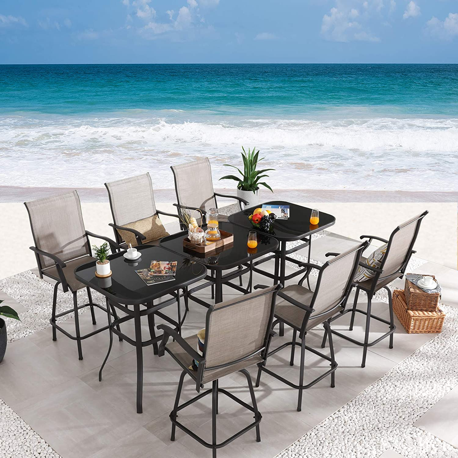 Festival Depot List price 9-Piece Bar Ranking TOP3 Bistro Outdoor Furniture Dining Patio