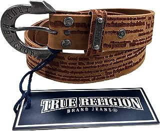Womens True Religion Jeans Leather Belt Brown Script Hardware Logo Horseshoe Buckle