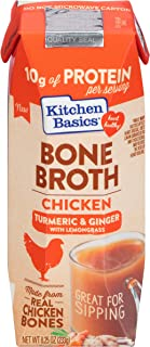Sponsored Ad - Kitchen Basics Turmeric & Ginger With Lemongrass Chicken Bone Broth, 8.25 fl oz (Pack of 12)