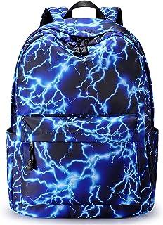 S-ZONE 15,6 Inch Lightning Stylischer Rucksack Schulranzen Reiserucksack Geldbeutel für Teenager Mädchen Jungen Outdoor Wandern Camping Wochenende