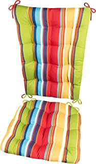 Porch Rocker Cushion Set - Westport Cabana Stripe Red - Size X-Large - Indoor/Outdoor: Fade & Mildew Resistant - Latex Foam Filled Seat Pad & Back Rest - Reversible (Multi / Rainbow, Presidential)