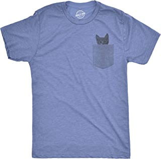 Mens Pocket Cat T Shirt Funny Printed Peeking Pet Kitten Animal Tee for Guys