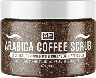 اسکراب قهوه M3 Naturals Arabica با کلاژن و سلولهای بنیادی تمام کشش های طبیعی پوست و صورت و علائم کشش رگهای عنکبوتی جای جوش های پوستی ضد سلولیت چین و چروک های مراقبت از پوست