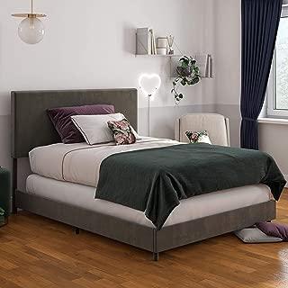 Novogratz Z Taylor Upholstered, Queen Size Frame, Gray Velvet Bed