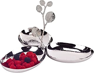 Stainless Steel and Silver Leaf Brass 3 Bowl Caddy Dip Server h7