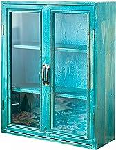 Retro Style Wood Display Cabinet,Desktop Storage Box with Dustproof Glass Door,Vertical Cabinet Sundries/Jewelry Box,for B...