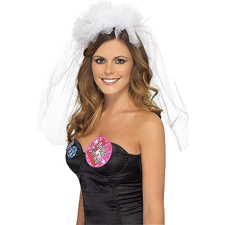 Oblique Unique/® Haarreifen mit Brautschleier und Glitzer Krone Junggesellinnenabschied JGA Hen Party Hochzeit Schleier Pink Rosa