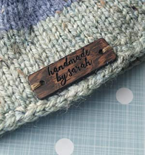 Custom clothing labels, wooden garment labels, personalized label tags, labels for handmade products, wood labels for knitted items, 25 pc