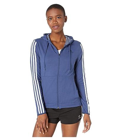 adidas 3 Stripe Training Full Zip Hoodie Sweatshirt (Tech Indigo) Women