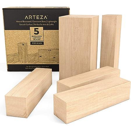 """Arteza blocs de sculpture en tilleul pour la sculpture, l'artisanat et la menuiserie - Ensemble de 5 pièces avec un bloc 4""""x 2""""x 2"""" et quatre blocs 4""""x 1""""x 1""""."""