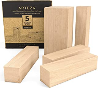 ARTEZA Basswood Carving Blocks for Carving, Crafting and Whittling - 5 Piece Set with one 4