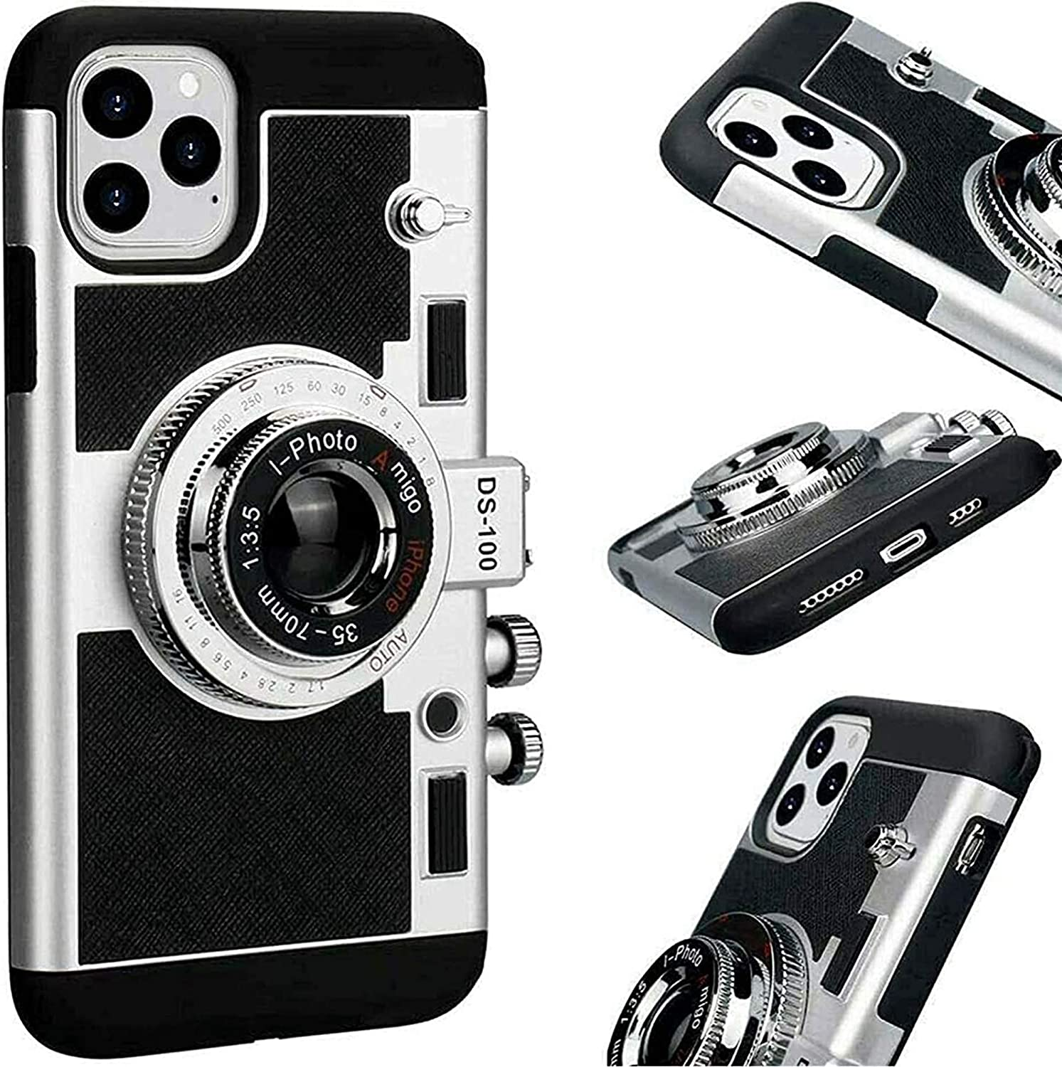 ADGJL Vintage Camera Design Phone Case,Cute 3D Cool Vintage Camera Design Phone Case,Emily in Paris Phone Case with Removable Neck Strap Lanyard (for iPhone 12 PRO)