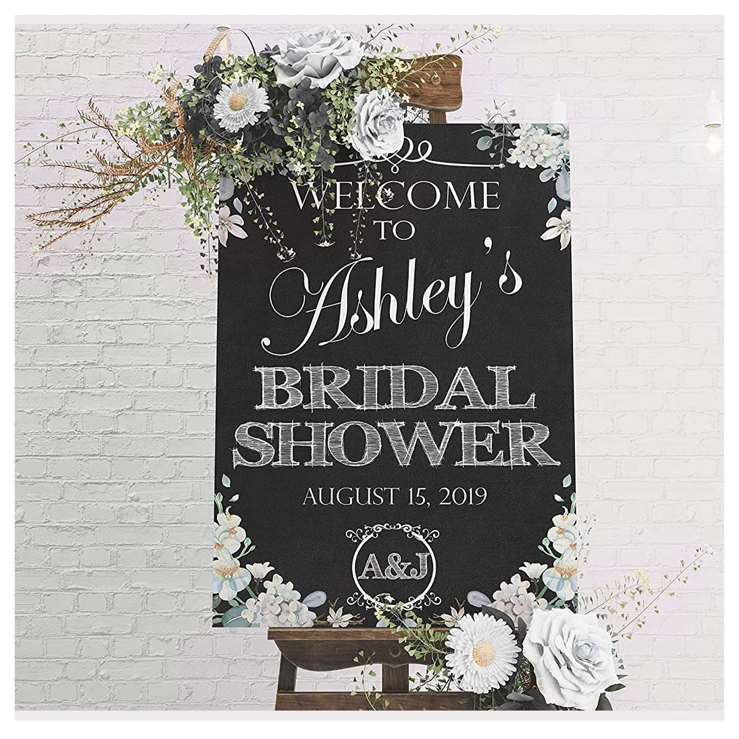 Floral Bridal Shower Chalkboard Sign, Floral Decor Welcome Sign, Black and White Theme, Wedding Shower Gifts, Bridal Shower Signs, Bachelorette Party, Party Supply Poster Size 24x18, 36x24 and 48x36