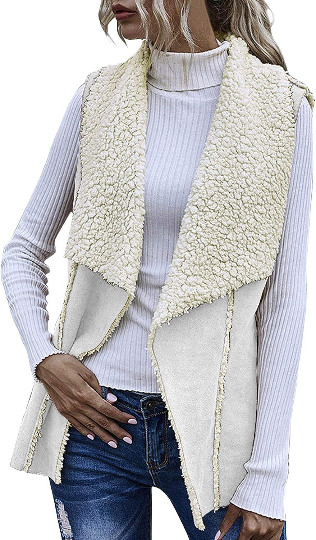 Gafeng Women's Sherpa Fleece Vest Winter Warm Open Front Cardigan Sleeveless Faux Shearling Jacket Outerwear