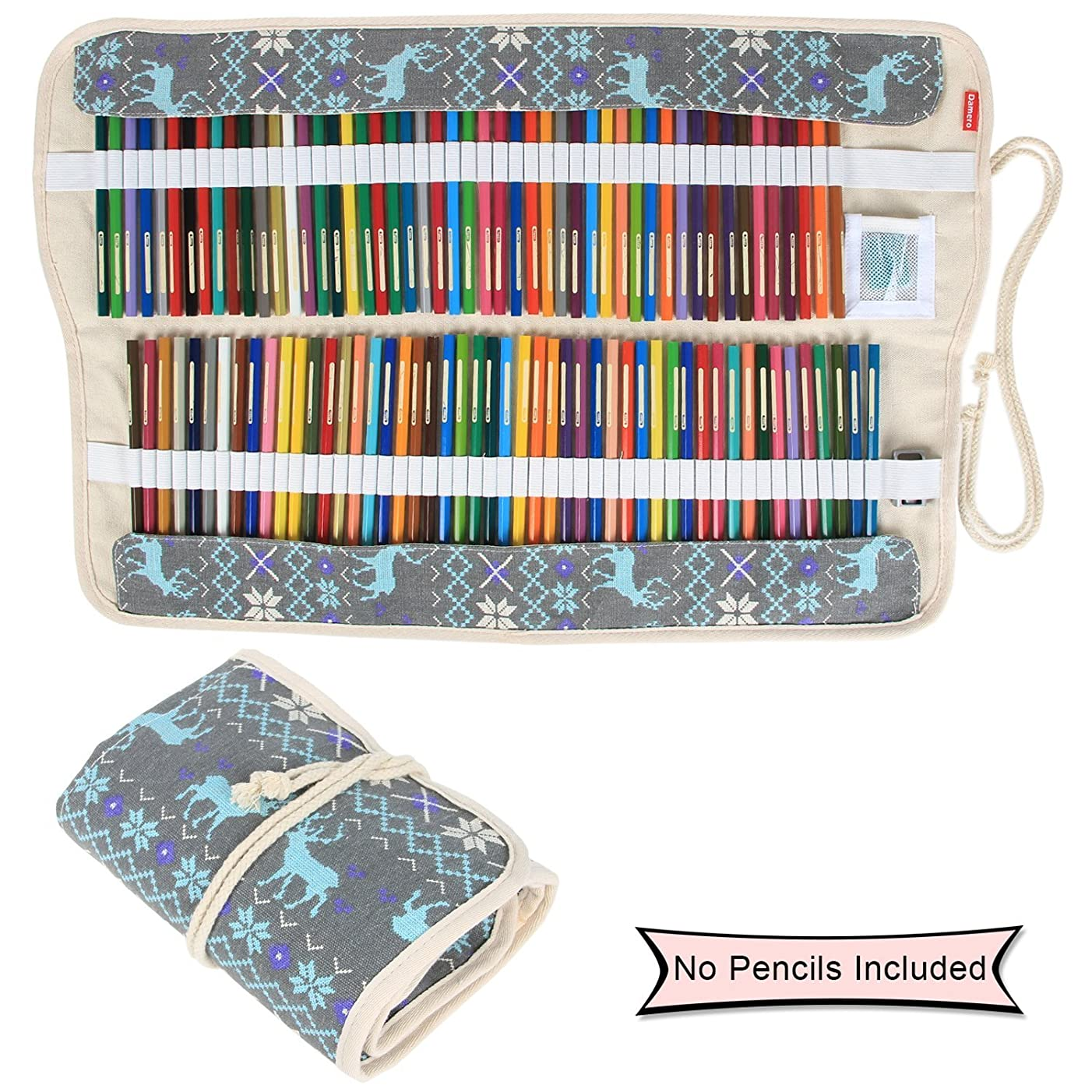 Damero Colored Pencils Case Wrap 100 Holes, Canvas Wrap Pencil Holder Storage Organizer Roll with Multi-purpose Pouch for Artist and Students, Elk (NO Pencil Included)