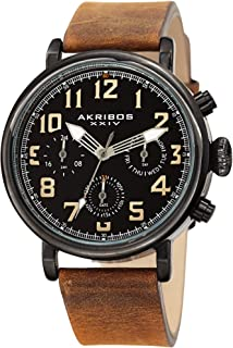 Akribos XXIV Men's AK1028 Multi-Function Antique Watch with Comfortable Leather Strap in a Gift Box