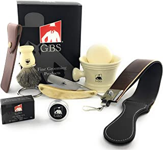 GBS Premium Classic Straight Razor Shaving Set - Shave Ready Straight Razor, Honing Sharpening Strop, Leather Case, Ceramic Mug, Badger Bristle Brush, Stand & Soap Vintage Wet Shaving Set (Ivory)