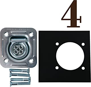 Four Recessed D Ring Cargo Tiedown Anchors w/Mounting Lock Plates & Installation Tie Down Hardware Accessories, Flush Mount Bolts, Hex Nuts, Flat Washers   Square Galvanized Steel