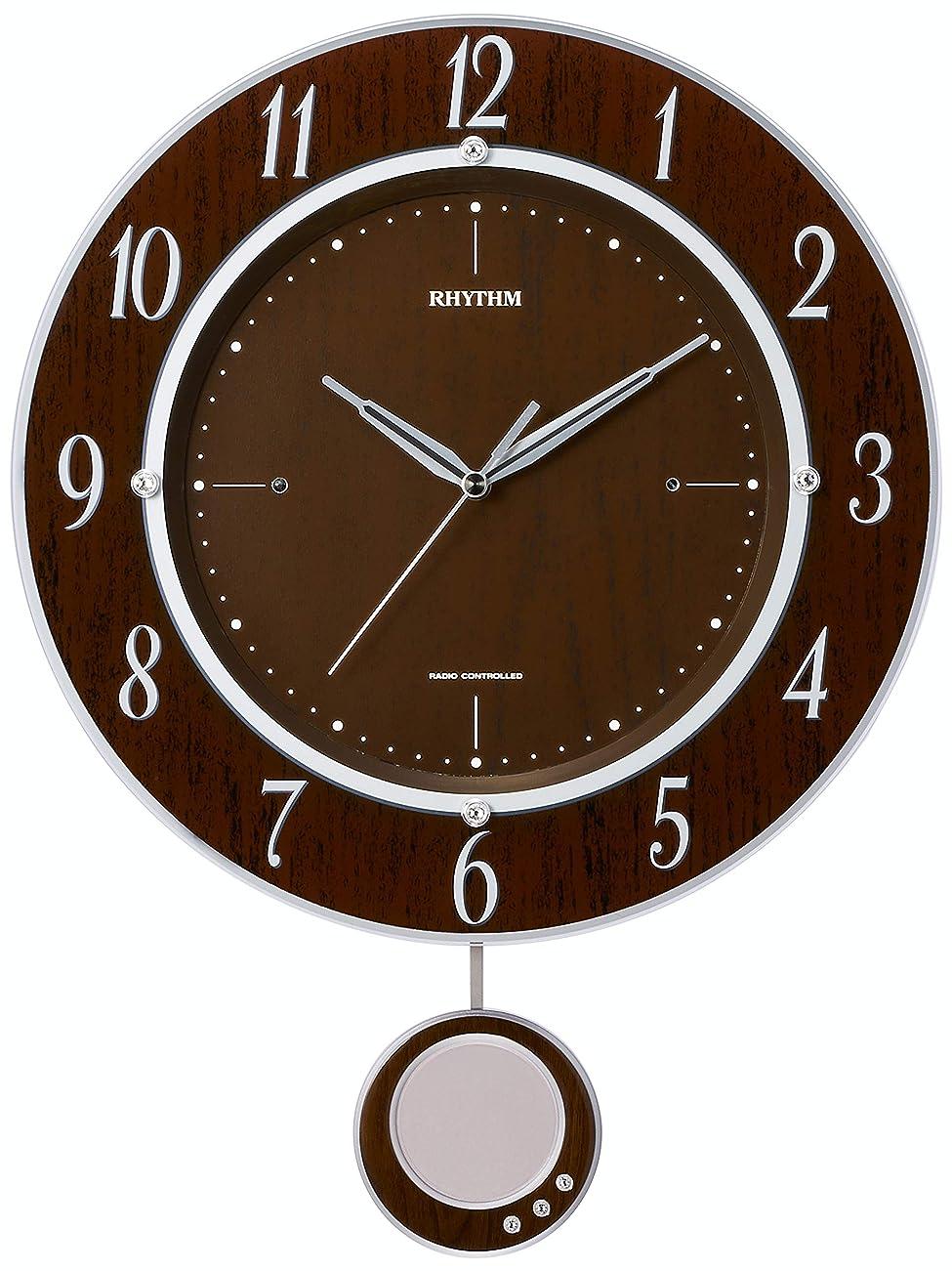 フィード滞在グラマー掛け時計 電波時計 振子 トライメテオDX リズム時計 8MX403SR23