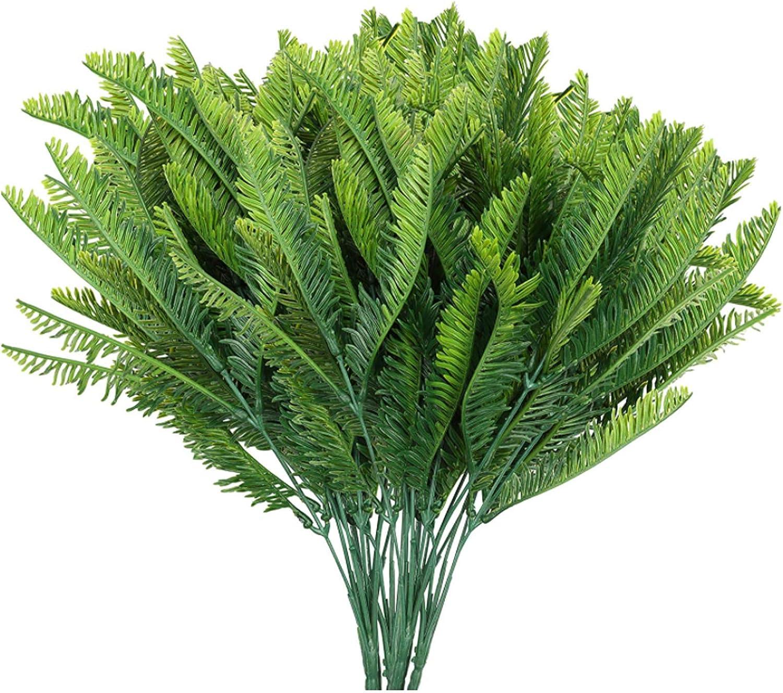 HONGER 10 PCS Artificial Fees free Plants Greenery Fake shop Bush Boston Fern