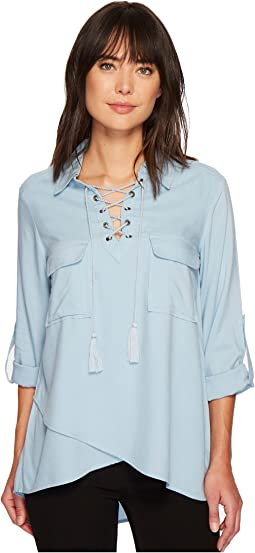 Karen Kane Lace-Up Hem Top