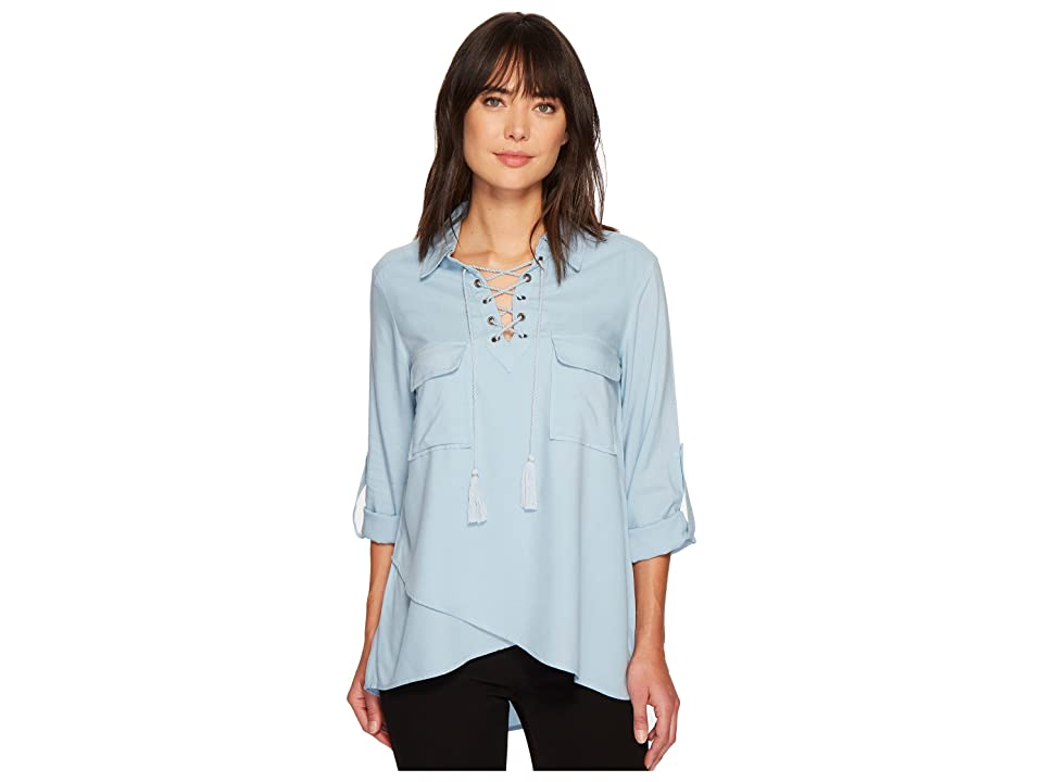 Karen Kane Lace-Up Hem Top (Light Blue) Women