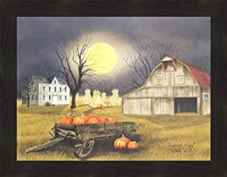 Home Cabin Décor Harvest Moon by Billy Jacobs 22x28 Primitive Farm Barn Pumpkins Full Moon Corn Shocks Wagon Framed Print Picture