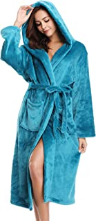 Vlazom Women Dressing Gown, Flannel Soft Robe Warm Bathrobes with Hooded or Shawl Collar for Cold Winter