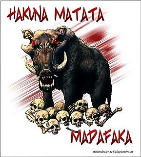 Aufkleber Hakuna Matata Madafaka Sticker Warzenschwein Wildschwein Skulls Probleme Streitigkeiten Schädel Knochen Totenkopf Africa Afrika Tiere Autoaufkleber